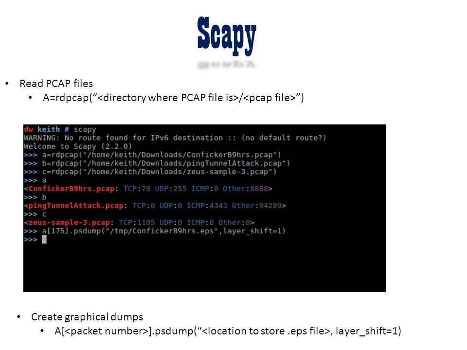 "Scapy Read PCAP files A=rdpcap("" / "") Create graphical dumps A[ ].psdump("", layer_shift=1)"