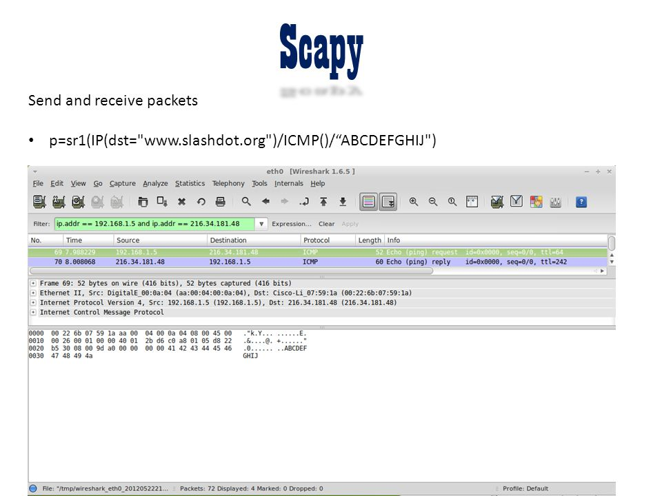 Scapy Send and receive packets p=sr1(IP(dst=
