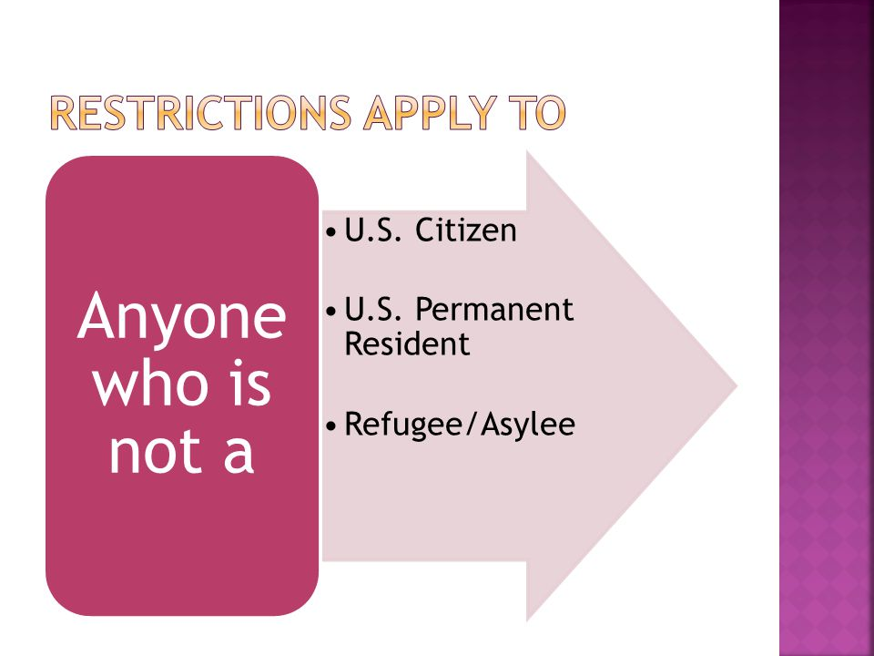 U.S. Citizen U.S. Permanent Resident Refugee/Asylee Anyone who is not a