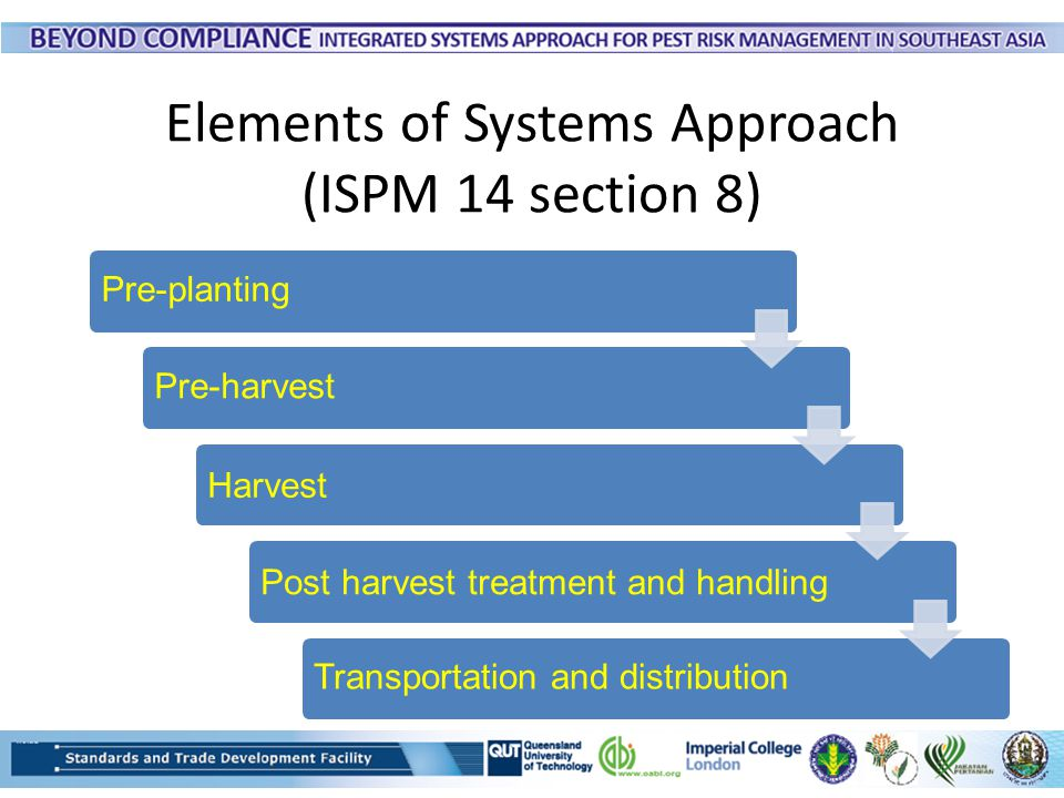 Elements of Systems Approach (ISPM 14 section 8) Pre-plantingPre-harvest HarvestPost harvest treatment and handling Transportation and distribution
