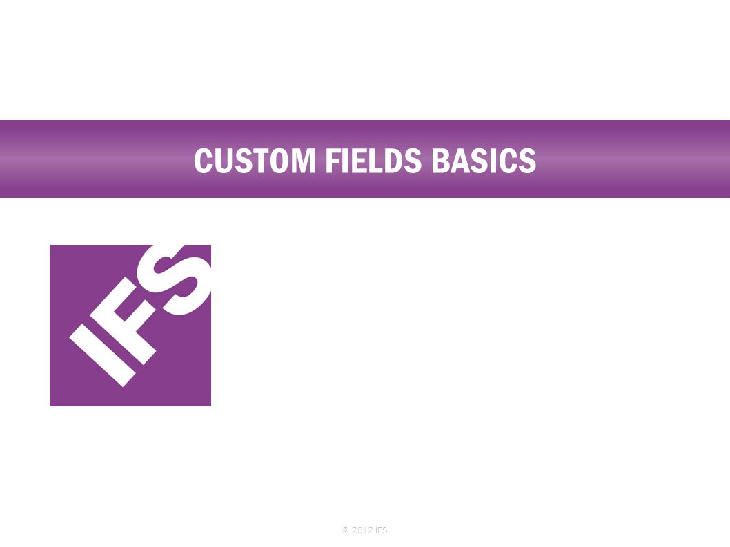 CUSTOM FIELDS BASICS © 2012 IFS