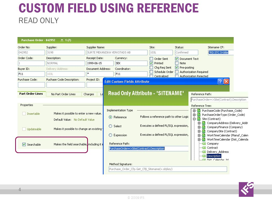 CUSTOM FIELDS USING EXPRESSION © 2009 IFS 5 READ ONLY - ADD NEW FIELD DISCOUNT AND USE IT ON A CO