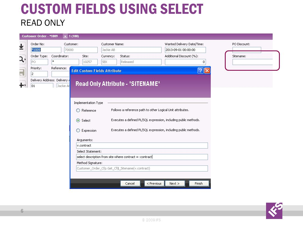 CUSTOM FIELDS USING SELECT © 2009 IFS 6 READ ONLY