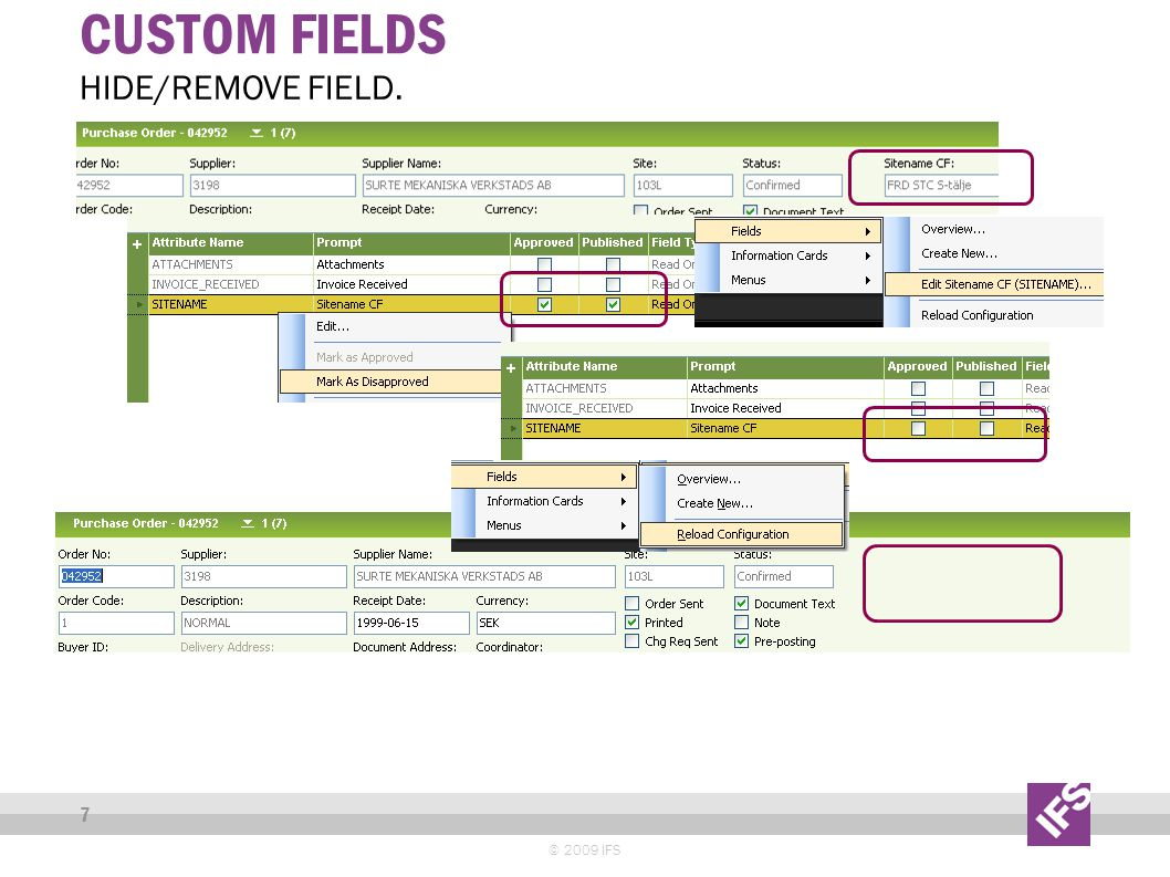 CUSTOM FIELDS © 2009 IFS 7 HIDE/REMOVE FIELD.