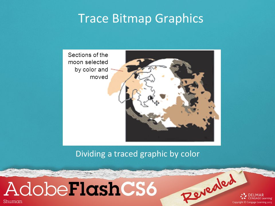 Sections of the moon selected by color and moved Dividing a traced graphic by color Trace Bitmap Graphics