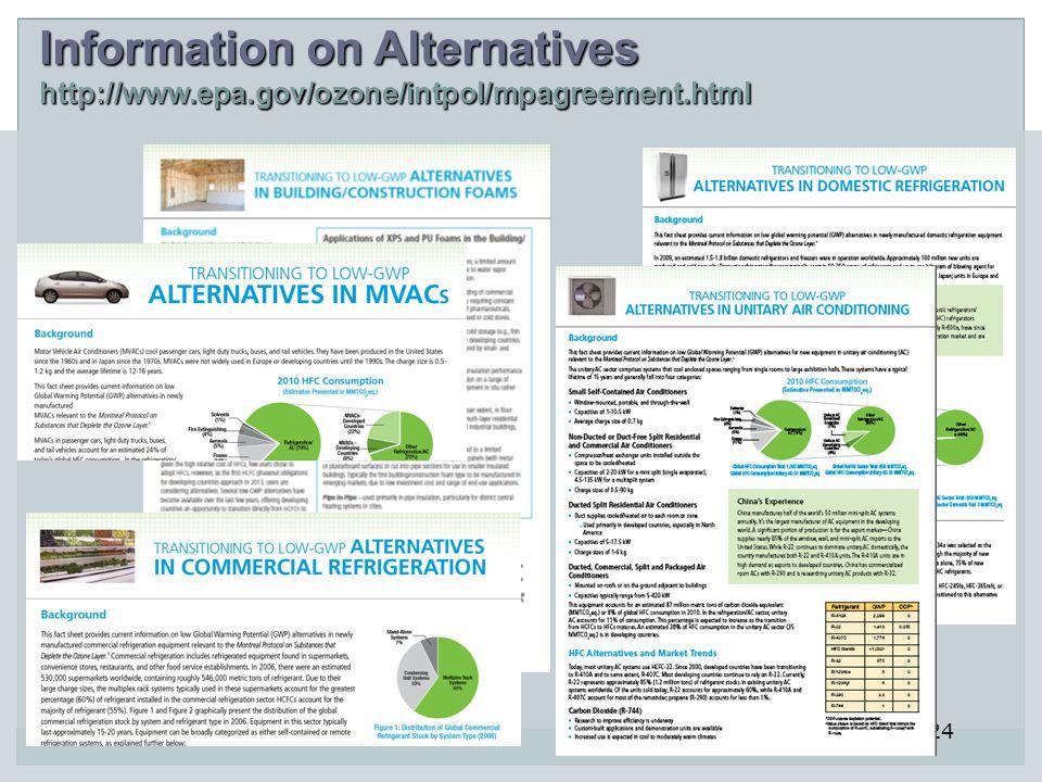Information on Alternatives http://www.epa.gov/ozone/intpol/mpagreement.html 24