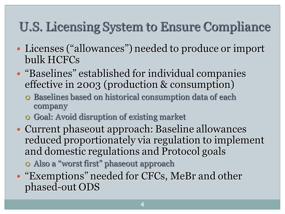 """U.S. Licensing System to Ensure Compliance Licenses (""""allowances"""") needed to produce or import bulk HCFCs Licenses (""""allowances"""") needed to produce or"""