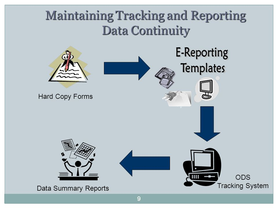 9 Maintaining Tracking and Reporting Data Continuity Hard Copy Forms ODS Tracking System Data Summary Reports