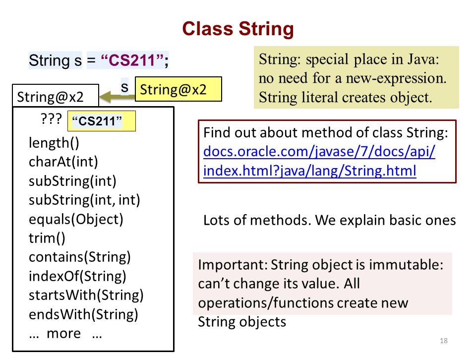 String@x2 CS211 Class String String s = CS211 ; .