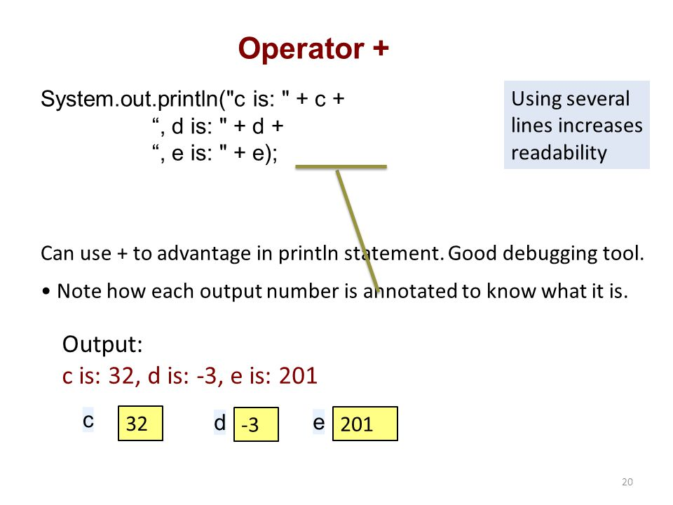 Operator + System.out.println( c is: + c + , d is: + d + , e is: + e); c 32 d -3 e 201 Output: c is: 32, d is: -3, e is: 201 Can use + to advantage in println statement.