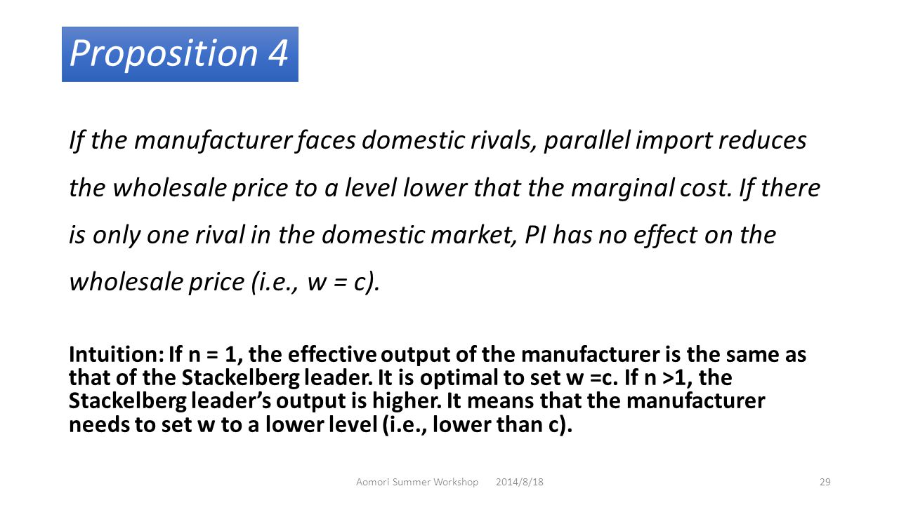 Proposition 4 If the manufacturer faces domestic rivals, parallel import reduces the wholesale price to a level lower that the marginal cost.