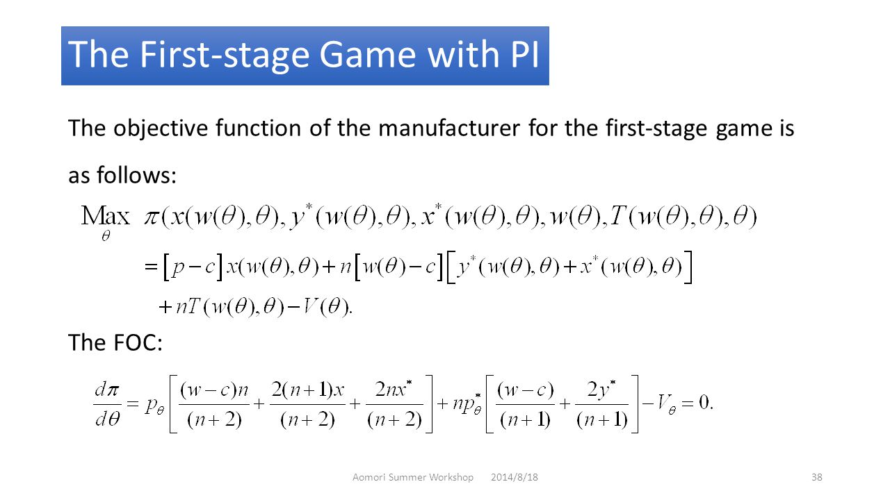 The First-stage Game with PI The objective function of the manufacturer for the first-stage game is as follows: The FOC: Aomori Summer Workshop 2014/8/1838