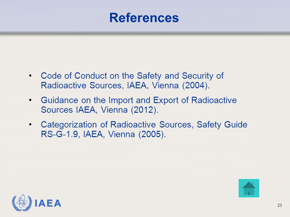 IAEA 23 Code of Conduct on the Safety and Security of Radioactive Sources, IAEA, Vienna (2004).