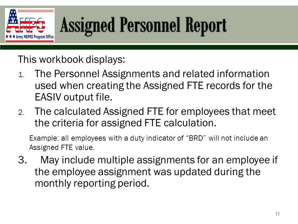 This workbook displays: 1.