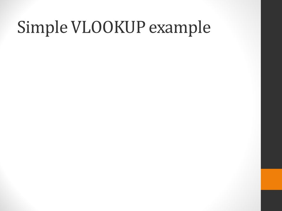Simple VLOOKUP example