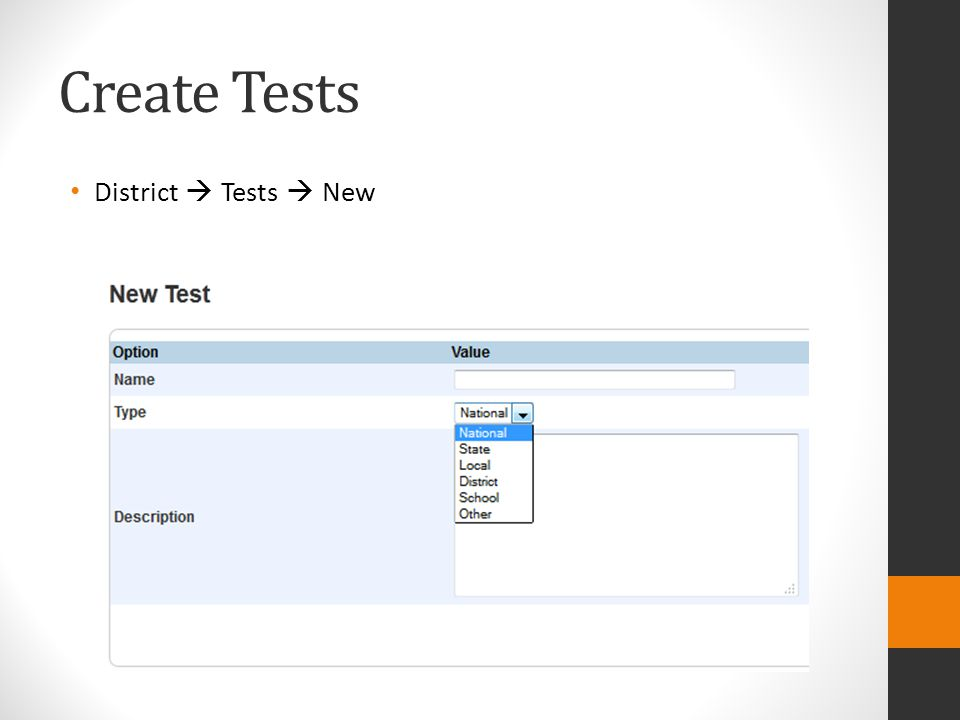Create Tests District  Tests  New