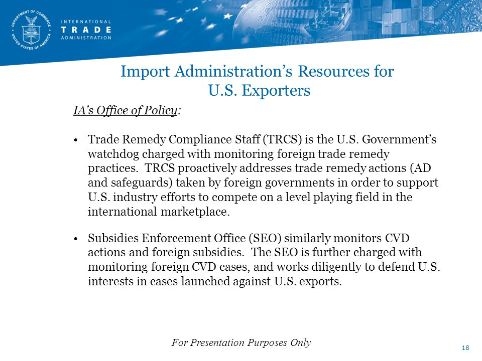 Import Administration's Resources for U.S.
