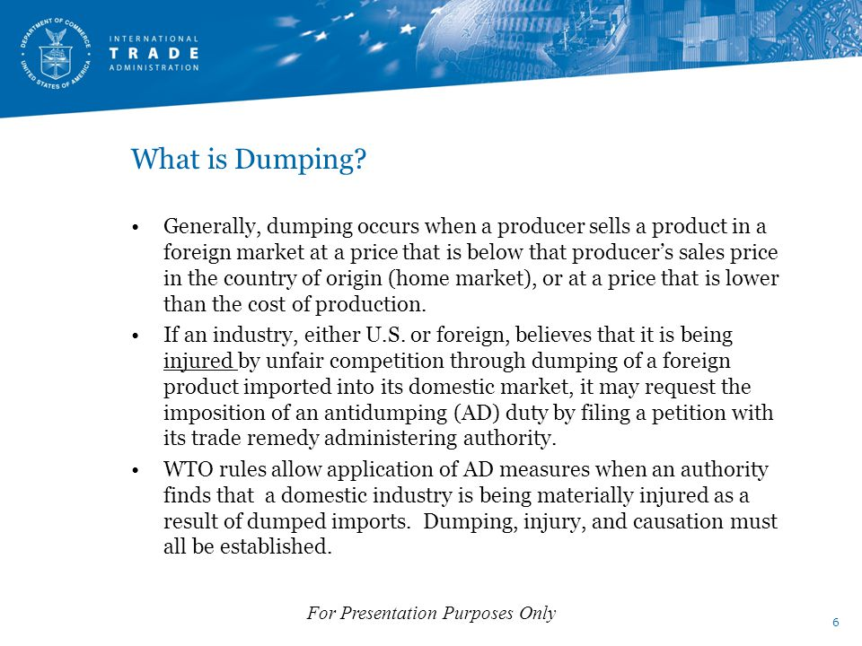 What is Dumping.