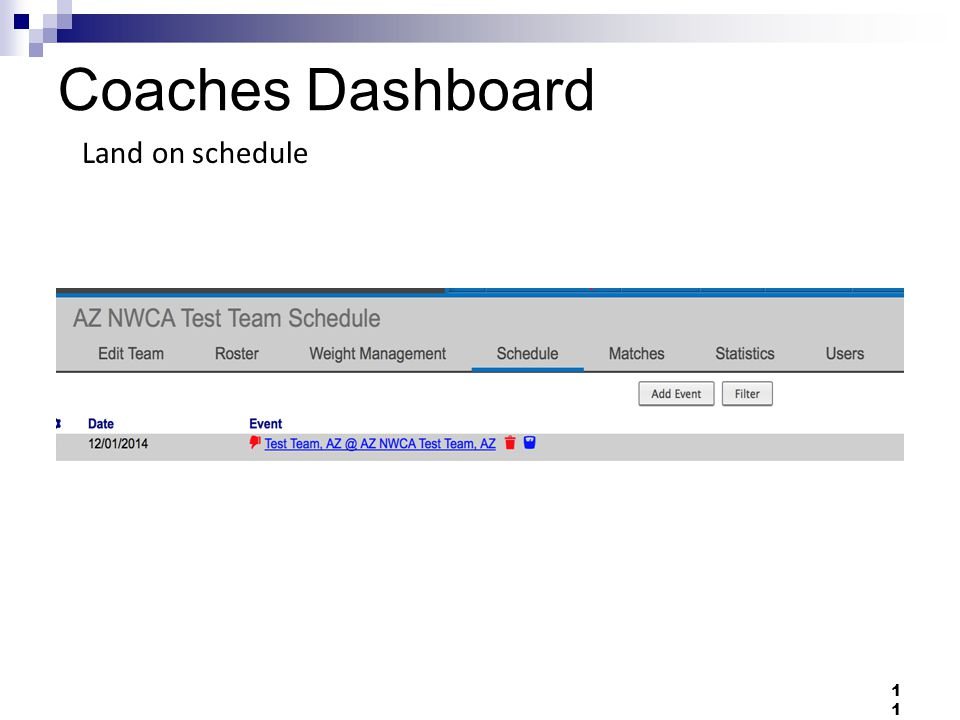 Coaches Dashboard 11 Land on schedule