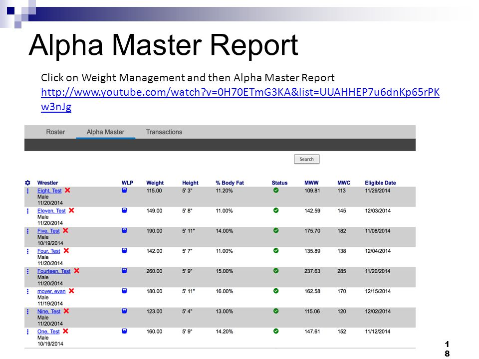 Alpha Master Report 18 Click on Weight Management and then Alpha Master Report http://www.youtube.com/watch v=0H70ETmG3KA&list=UUAHHEP7u6dnKp65rPK w3nJg
