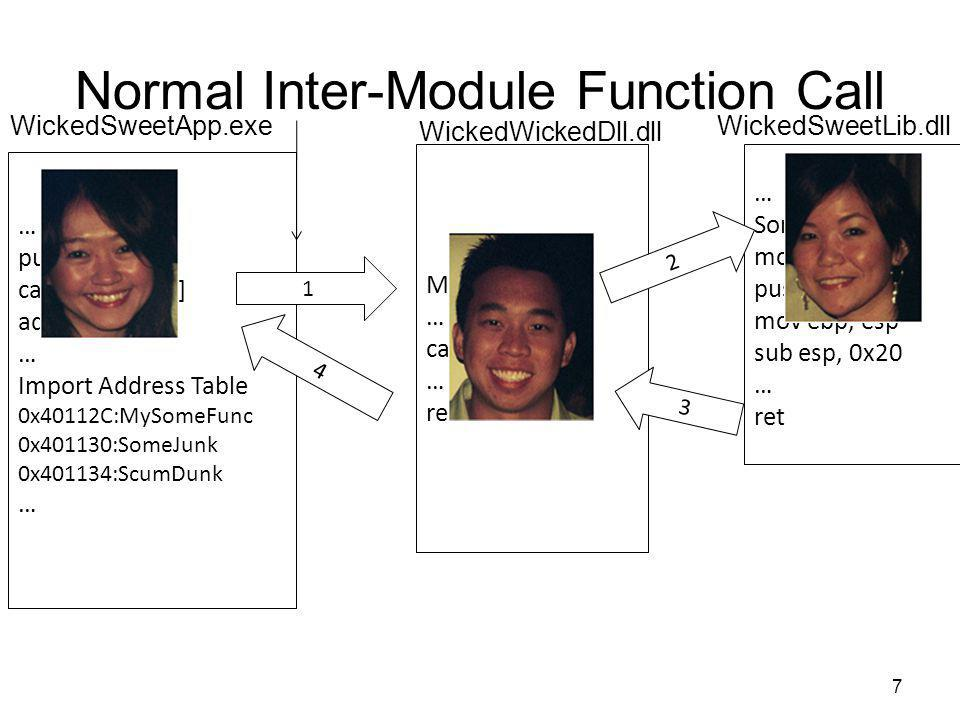 Normal Inter-Module Function Call 7 … push 1234 call [0x40112C] add esp, 4 … Import Address Table 0x40112C:MySomeFunc 0x401130:SomeJunk 0x401134:ScumD