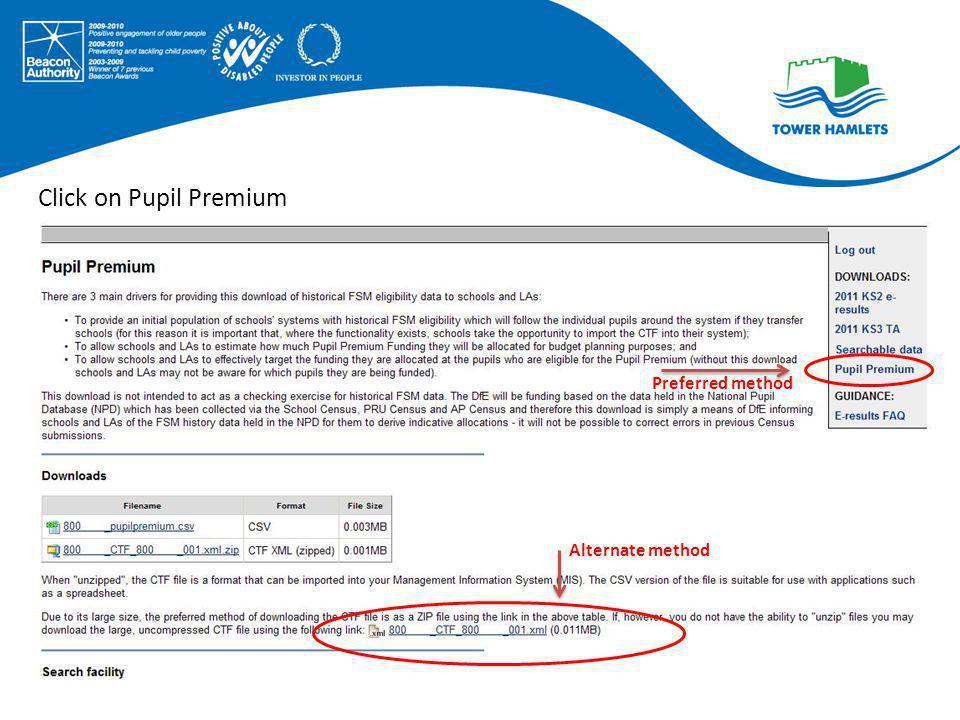 Click on Pupil Premium Preferred method Alternate method