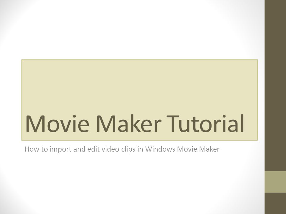 Step 1 – Import video 1 - Import a Video Clip into Windows Movie Maker You can import a video clip into a brand new Movie Maker project or add a video clip to an existing movie in the works.