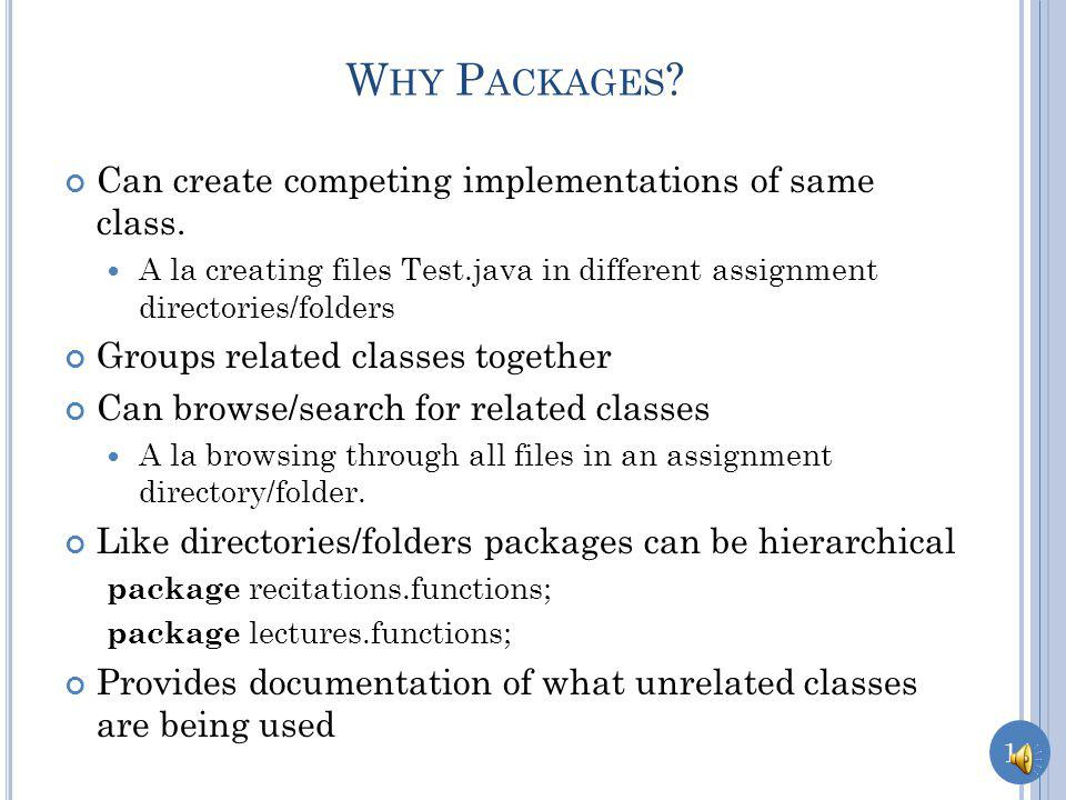 13 package lectures.safe_functions; public class ASquareCalculator { public long square( int x) { return x*x; } U NSUCCESSFUL I MPORT package lectures.functions; class ASquareCalculator { public int square( int x) { return x*x; } package main; import lectures.functions.ASquareCalculator; public class SquareCalculatorDriver { public static void main (String[] args) { ASquareCalculator squareCalculator = new ASquareCalculator(); System.out.println (squareCalculator.square(5)); } Non public class usable only within its package