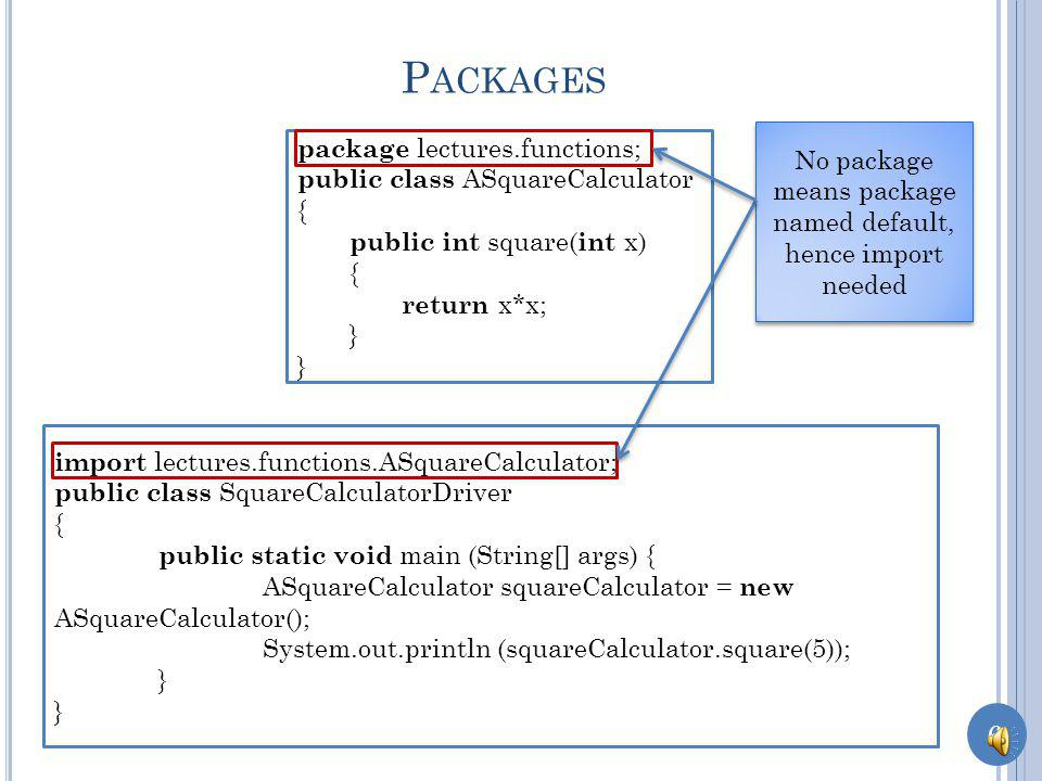 5 P ACKAGES package lectures.functions; public class ASquareCalculator { public int square( int x) { return x*x; } package lectures.functions; public class SquareCalculatorDriver { public static void main (String[] args) { ASquareCalculator squareCalculator = new ASquareCalculator(); System.out.println (squareCalculator.square(5)); } Class in same package need not be imported