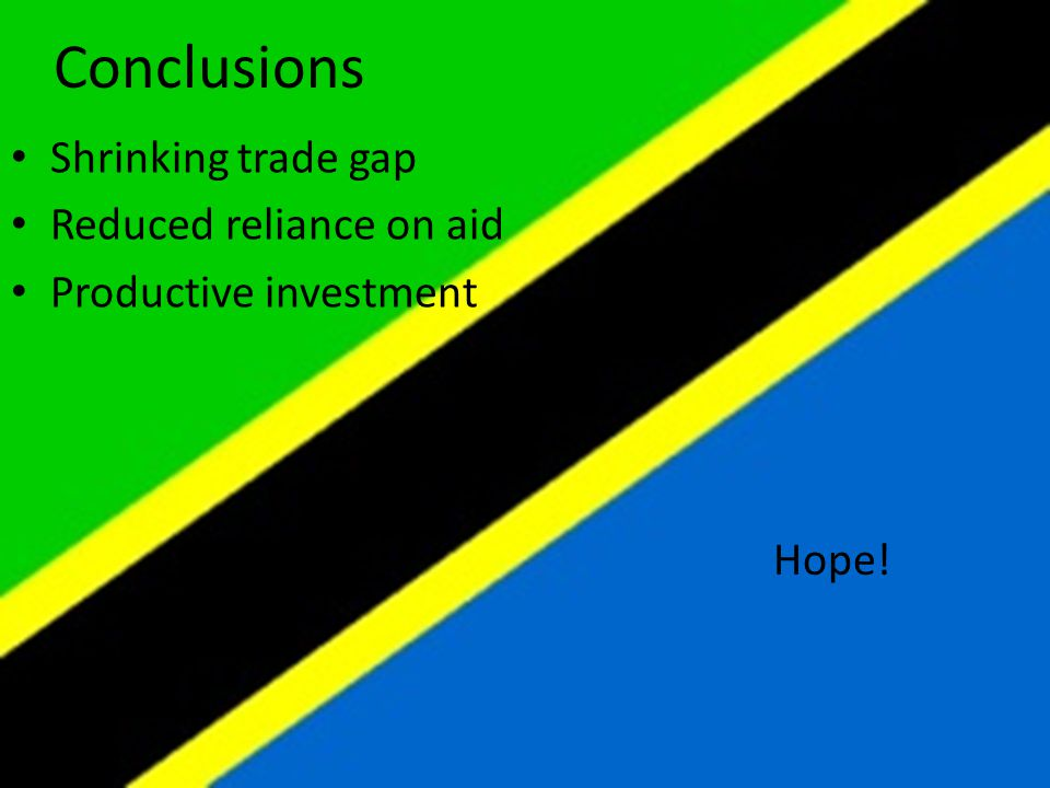 Shrinking trade gap Reduced reliance on aid Productive investment Conclusions Hope!
