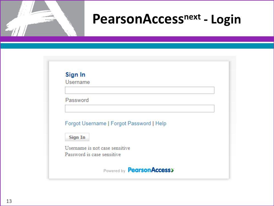 13 PearsonAccess next - Login