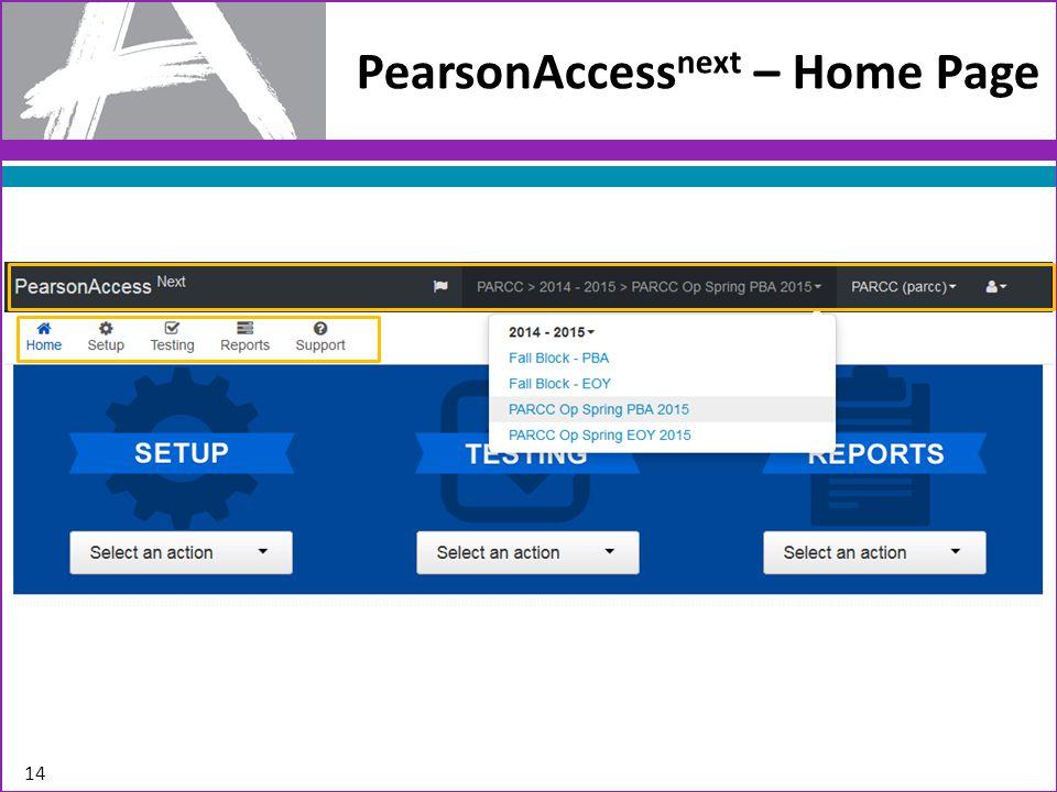14 PearsonAccess next – Home Page