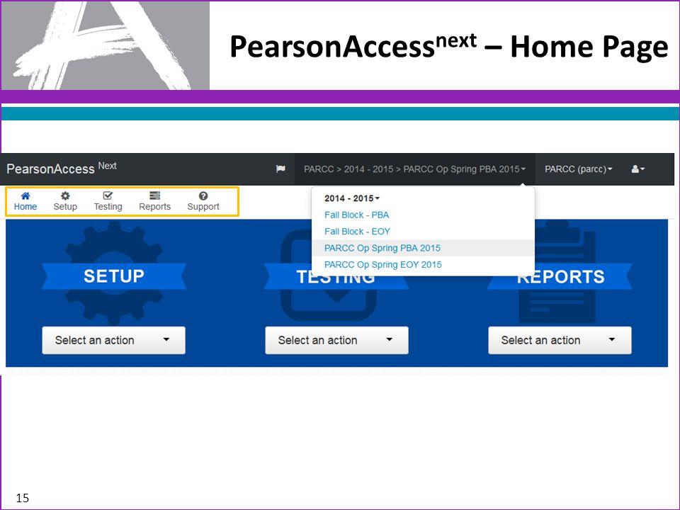 15 PearsonAccess next – Home Page