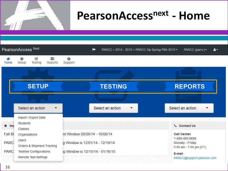 16 PearsonAccess next - Home