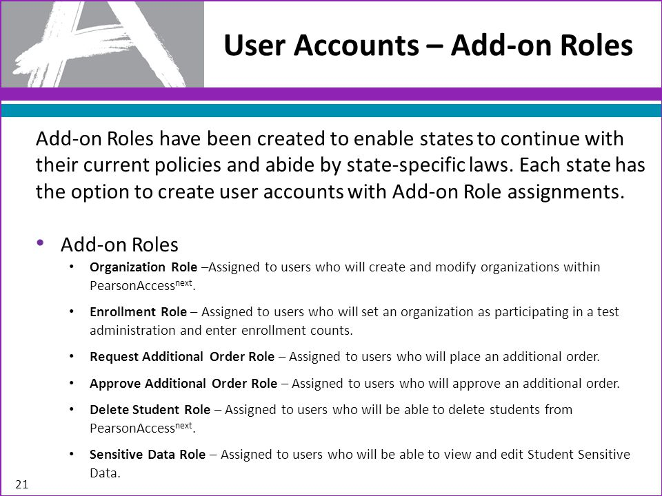 Add-on Roles have been created to enable states to continue with their current policies and abide by state-specific laws.