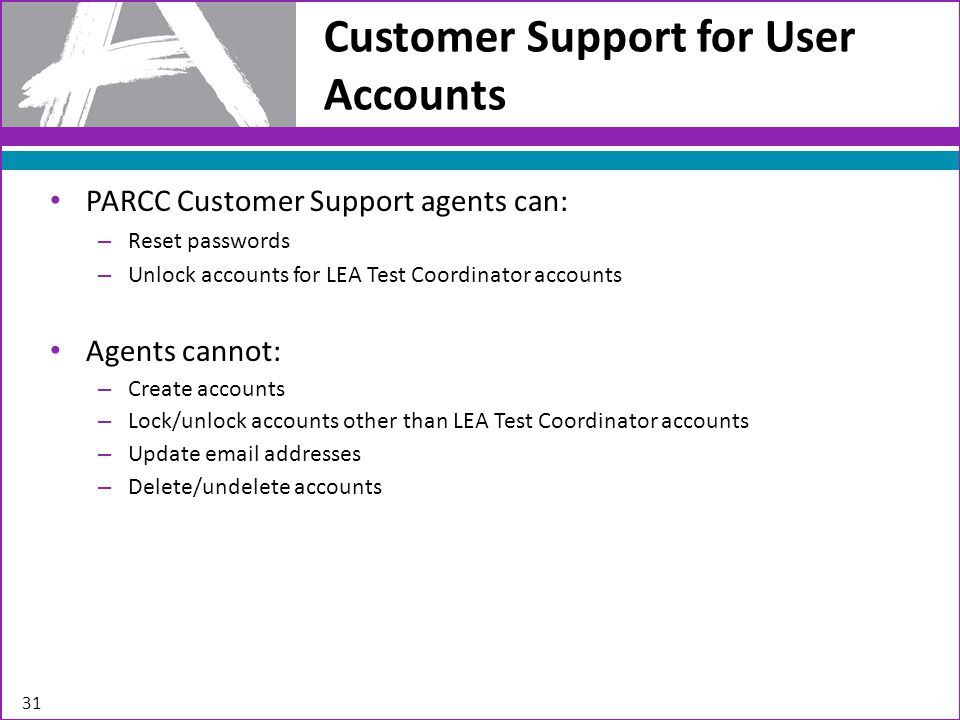 PARCC Customer Support agents can: – Reset passwords – Unlock accounts for LEA Test Coordinator accounts Agents cannot: – Create accounts – Lock/unlock accounts other than LEA Test Coordinator accounts – Update email addresses – Delete/undelete accounts Customer Support for User Accounts 31