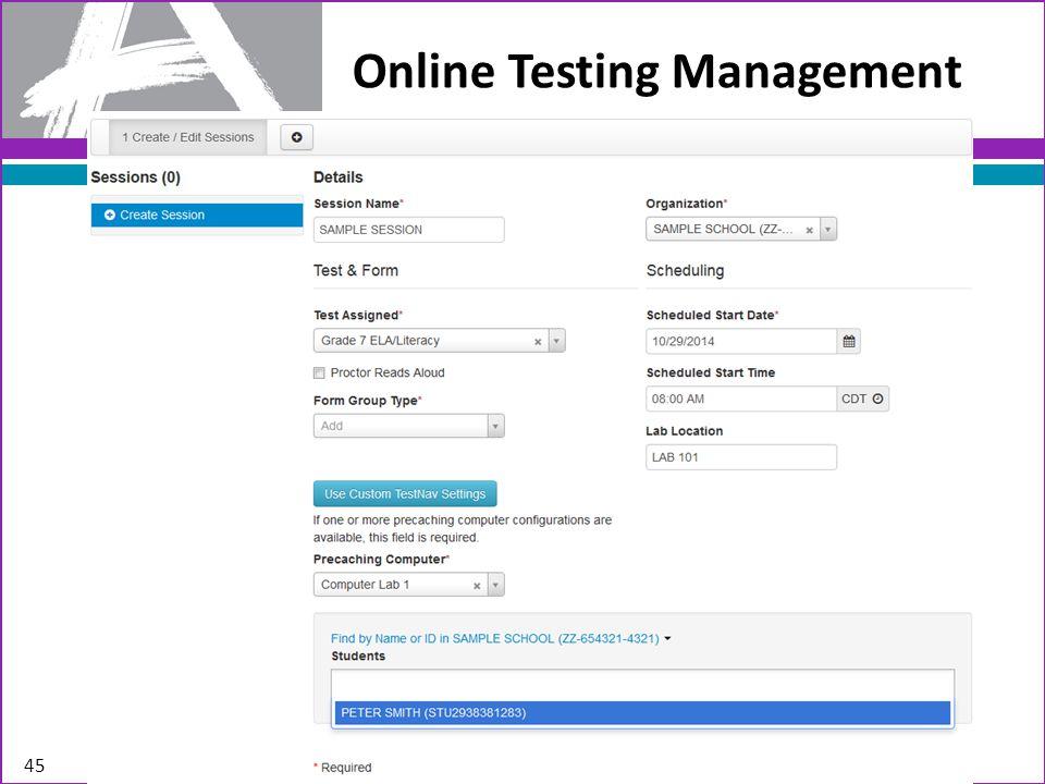 Online Testing Management 45