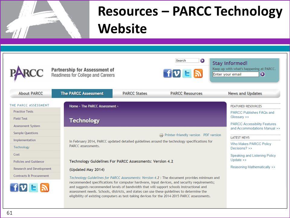 Resources – PARCC Technology Website 61