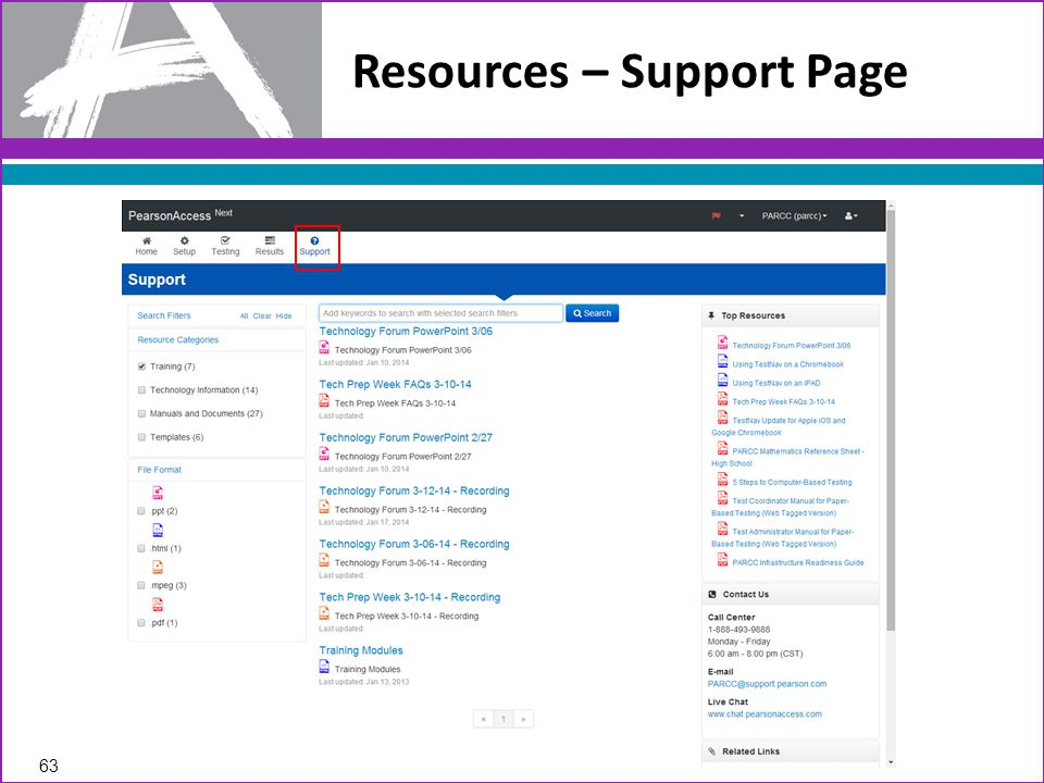 Resources – Support Page 63