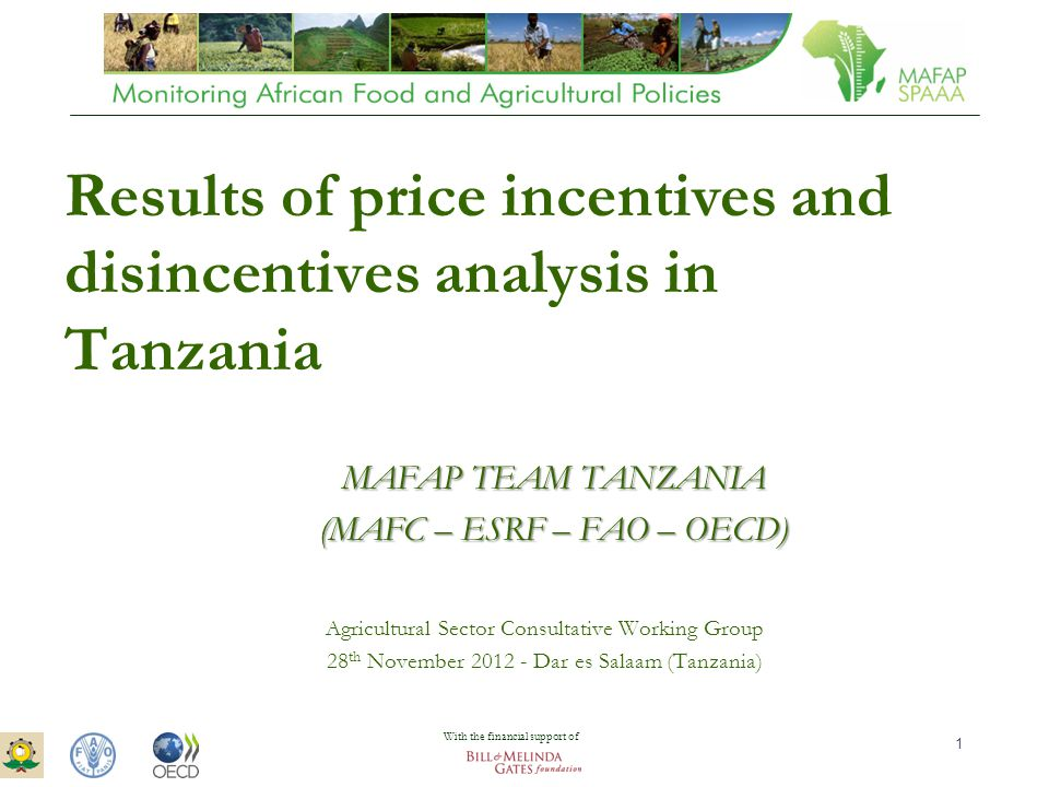 ASTWG Meeting – 28 th November 2012 – Dar es Salaam 1 Results of price incentives and disincentives analysis in Tanzania Agricultural Sector Consultative Working Group 28 th November 2012 - Dar es Salaam (Tanzania) MAFAP TEAM TANZANIA (MAFC – ESRF – FAO – OECD) With the financial support of