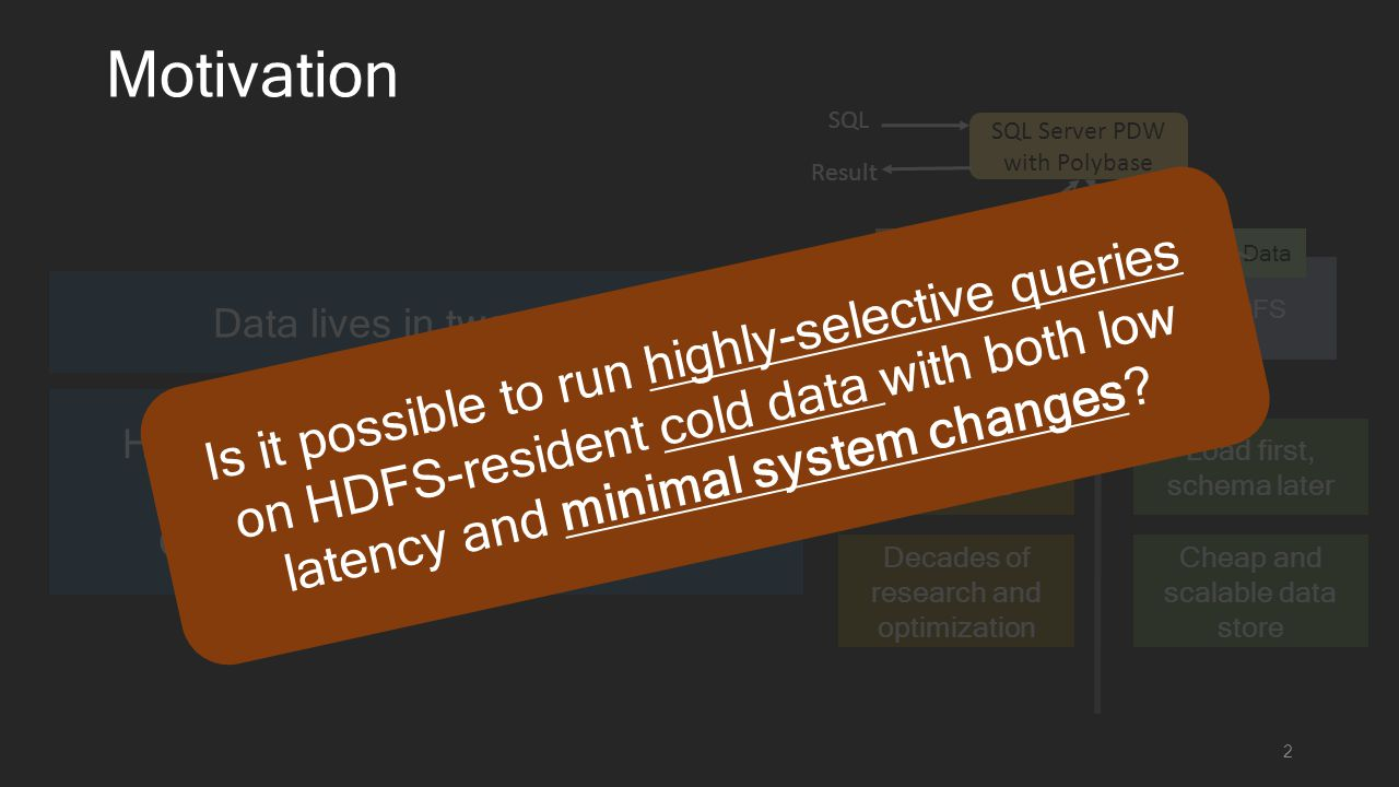 Hybrid SQL-On-Hadoop solutions (Microsoft PolyBase, Teradata QueryGrid, IBM Big SQL etc.) RDBMS Motivation 2 HDFS Data lives in two worlds Cheap and scalable data store Cold Data Load first, schema later Familiar SQL interface Decades of research and optimization Hot Data SQL Server PDW with Polybase SQL Result Is it possible to run highly-selective queries on HDFS-resident cold data with both low latency and minimal system changes