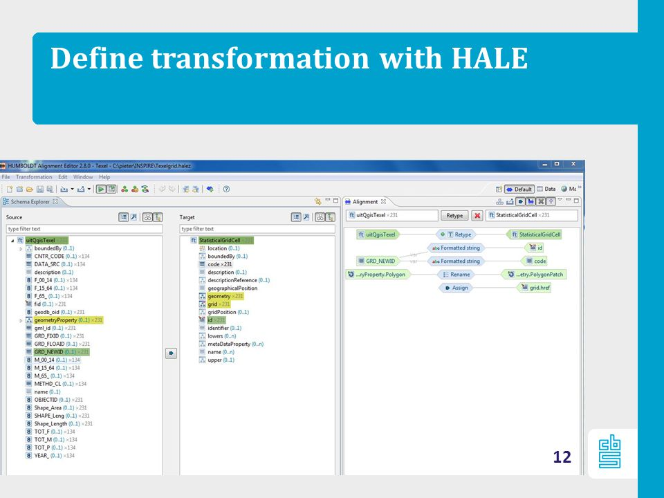 Define transformation with HALE 12