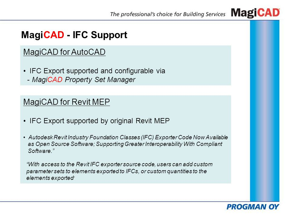 MagiCAD - IFC Support MagiCAD for AutoCAD IFC Export supported and configurable via - MagiCAD Property Set Manager MagiCAD for Revit MEP IFC Export su