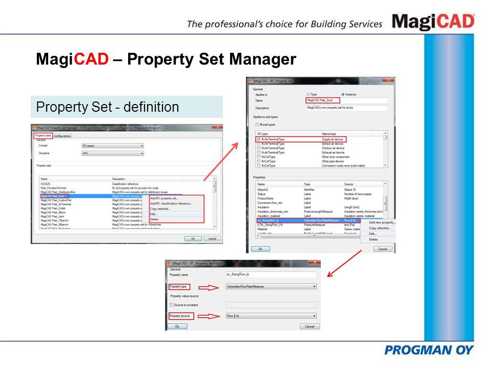 MagiCAD – Property Set Manager Property Set - definition