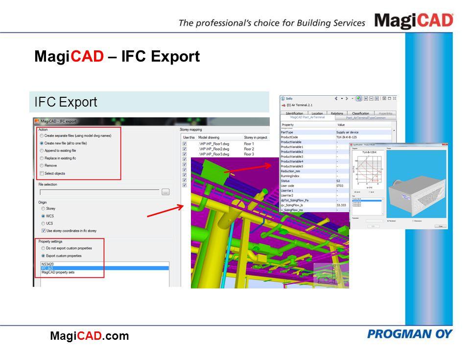 MagiCAD – IFC Export IFC Export MagiCAD.com