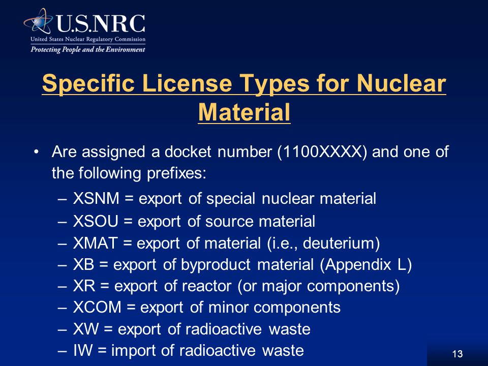 13 Specific License Types for Nuclear Material Are assigned a docket number (1100XXXX) and one of the following prefixes: –XSNM = export of special nuclear material –XSOU = export of source material –XMAT = export of material (i.e., deuterium) –XB = export of byproduct material (Appendix L) –XR = export of reactor (or major components) –XCOM = export of minor components –XW = export of radioactive waste –IW = import of radioactive waste