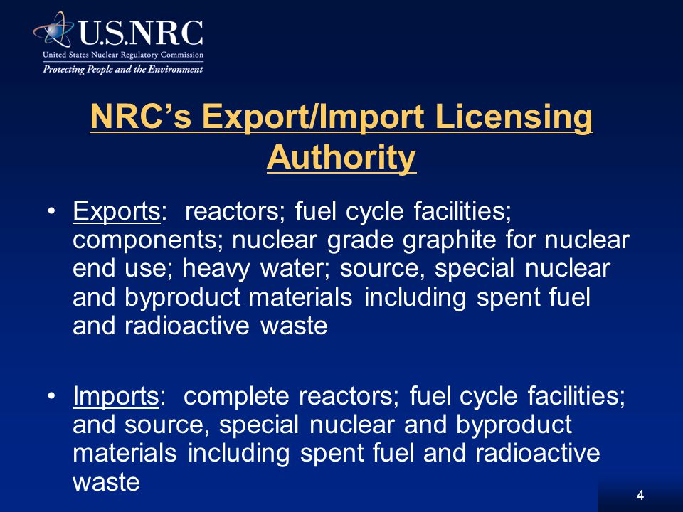 Criteria for Major (XSNM, XSOU, XR) Exports (Continued) Not inimical to common defense and security, and For XR, not an unreasonable risk to the public health and safety of the U.S.