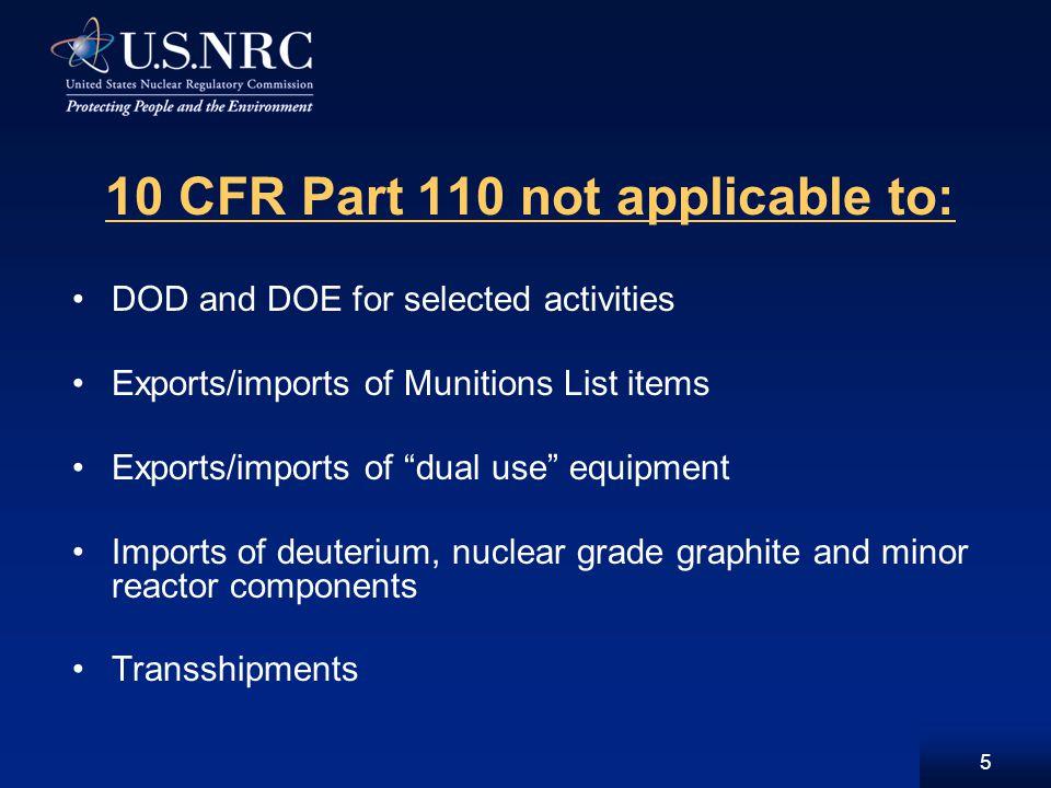 16 Criteria for Minor (XCOM, XMAT) Exports U.S.