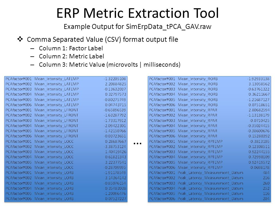  Comma Separated Value (CSV) format output file – Column 1: Factor Label – Column 2: Metric Label – Column 3: Metric Value (microvolts | milliseconds) ERP Metric Extraction Tool Example Output for SimErpData_tPCA_GAV.raw …