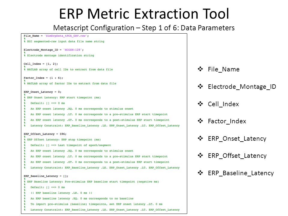  Comma Separated Value (CSV) format output file – Column 1: Factor Label – Column 2: Metric Label – Column 3: Metric Value (microvolts | milliseconds) ERP Metric Extraction Tool Example Output for SimErpData_tPCA_GAV.raw …